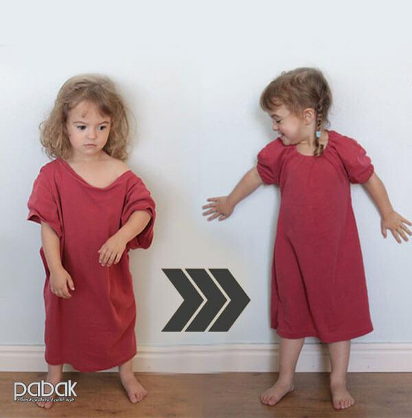 تبدیل پیراهن دکمه دار به لباس کودک