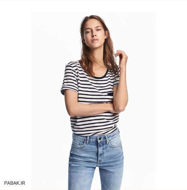 کردن شلوار جین فاق بلند و تیشرت راه راه - همه چیز درباره شلوار جین فاق بلند