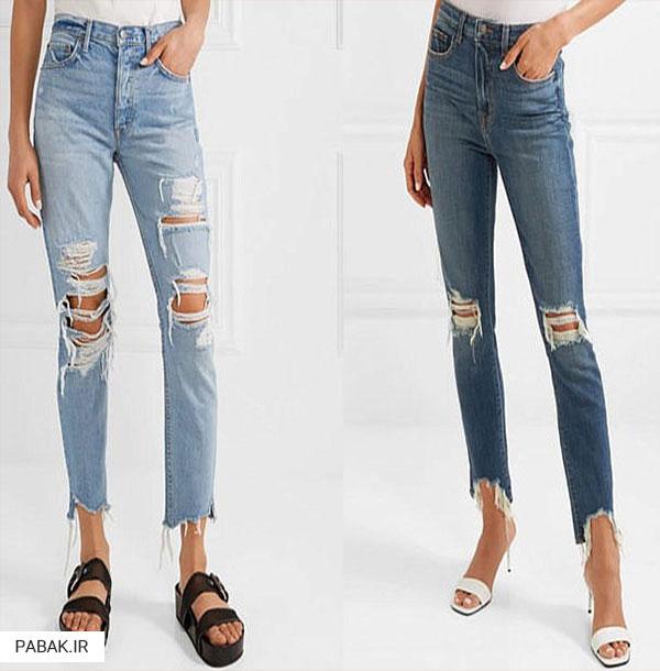 جین پاره زاپ دار  - انواع شلوار جین فاق بلند