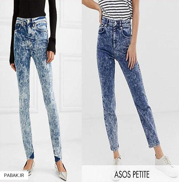 جین اسید شور شده - انواع شلوار جین فاق بلند
