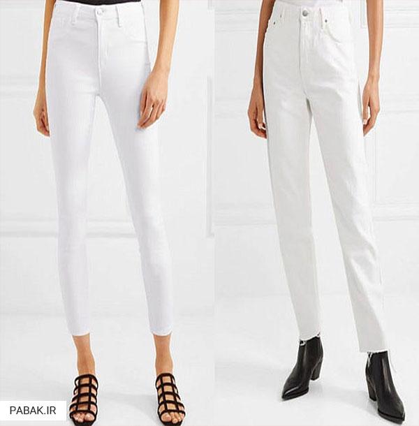 جین سفید فاق بلند - انواع شلوار جین فاق بلند