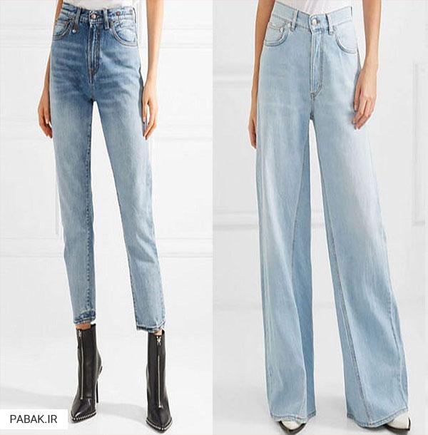 های جین فاق بلند شسته - انواع شلوار جین فاق بلند