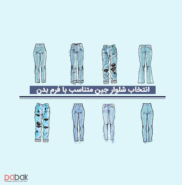 Choose jeans that fit your body shape2 - انتخاب شلوار جین متناسب با فرم بدن